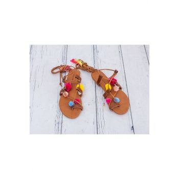 Creole Charm Pompom Sandals 36 Light Brown 10018017
