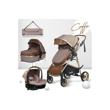Kiwi City Way 5 in 1 Baby Stroller, Carry Seat, Care Bag, Raincoat - Brown KW-CTY-WY-5-N-1-KH