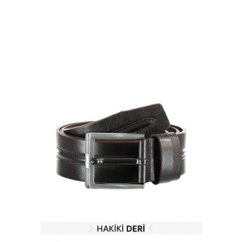 Brown Men Genuine Leather Textured Belt TMNAW20KE0012