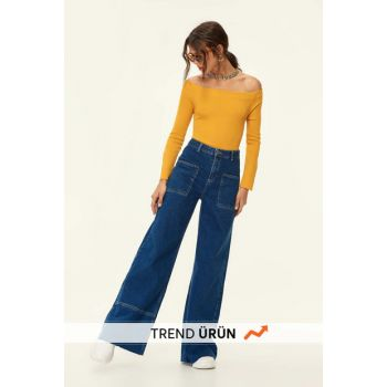 Blue High Waist Trousers Wide Leg Jean TCLAW19LR0002