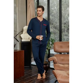 Men's Navy Blue T-Shirt Sleepwear Set TX360A04441522
