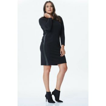 Women's Black Sides Leather Piped Punto Dress 24091