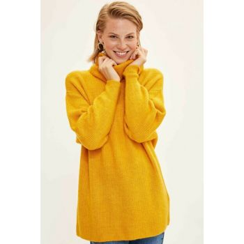 Women Yellow Turtleneck Sweater Tunic J2247AZ.19WN.YL330