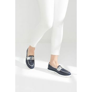 Navy Blue Lame Women Loafer Shoes 01AYY102840A682