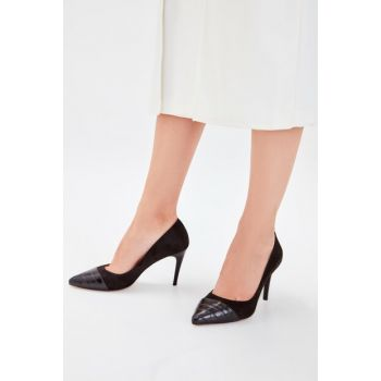 Black Suede Crocodile Detailed Women's Heeled Shoes TAKAW20TO0029