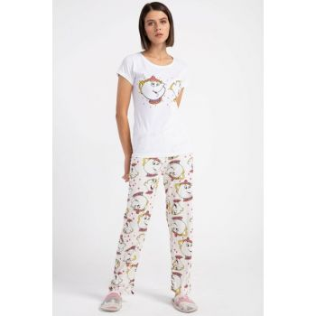 Women's White Elephant Printed Pajama Set P-015012