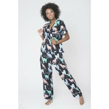 Women Black Sleep Glasses Patterned Pajama Set PJ1001