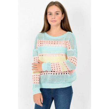 Marions Girls' Fishnet Pullover 3631 MRNS-19AW-MG3631 Compare