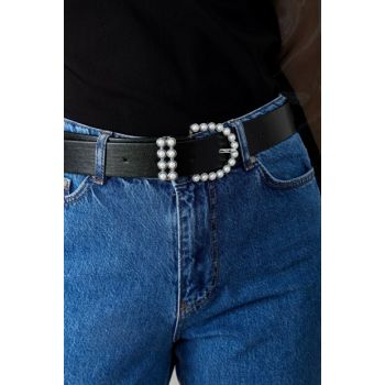 Women Black Pearl Embroidered Leather Belt Int-0937-0504 INT-0937-0504
