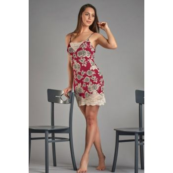 Women's Burgundy Floral Lacy Nightgown 11393