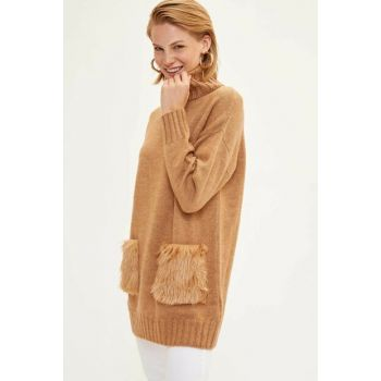 Women's Beige Pocket Detailed Knitwear Tunic J0854AZ.19WN.BG111