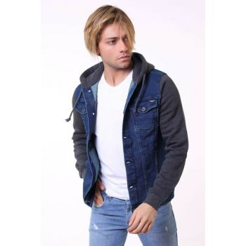 Dark Navy Anthracite Hooded Men's Denim Jacket ak2105