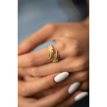 Women's Leaf Pattern Gold Plated Silver Italian Ring PKT-İZLASLVR00721