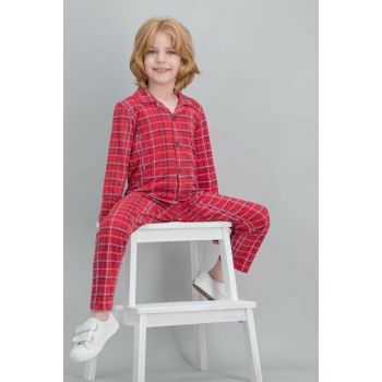 Plaid Red Boys Children Shirt Pajamas Set RP1524-C-V1