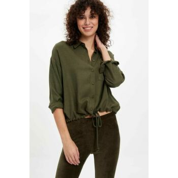 Women's Khaki Binding Detailed Long Sleeve Shirt L9927AZ.19AU.KH211