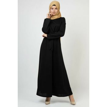 Women's Black Belted Zippered Dress 3685