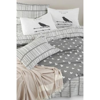 100% Natural Cotton Double Duvet Cover Set Vector Gray Ep-019702
