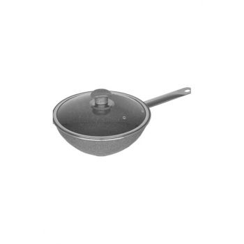 Granite Wok Pan With Lid 26 cm With Metal Handle Lid MNR0380-K