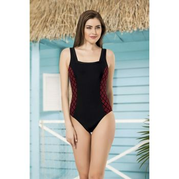 Women's Black Square Neck Basıc Swimsuit NB19YMB00011