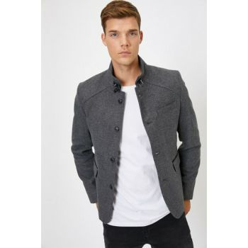 Men's Gray Button Detailed Jacket 0KAM59093NW