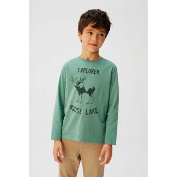 Green Boy Patterned Cotton T-Shirt 57055915