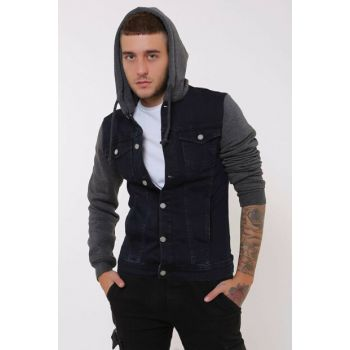 Navy Blue Fleece Sleeve Anthracite Hooded Men's Denim Jacket kr13213