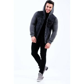 Smoked Fleece Sleeve Smoked Men's Denim Jacket ak2105