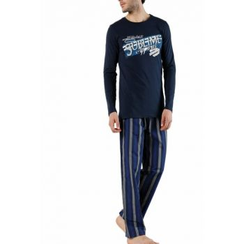 Men's Navy Blue Blue-Eyed Pajamas Set 002-000267