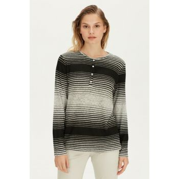 Women's Black Striped T-Shirt 9WH055Z8