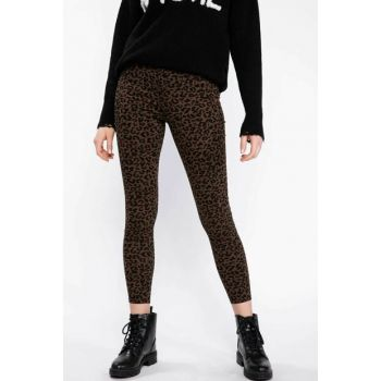 Women's Brown Anna Super Skinny High Wrist Leopard Patterned Pants K6281AZ.18WN.BN353