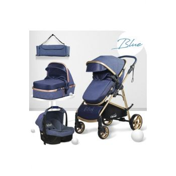 Kiwi City Way 5 in 1 Stroller, Carry Seat, Care Bag, Raincoat - Navy Blue KW-CTY-WY-5-N-1-LC