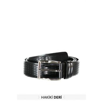 Black Men Genuine Leather Textured Belt TMNAW20KE0015