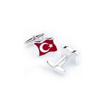 Turkish Flag Moon Star Mens Silver Cufflink Kd015 kd015