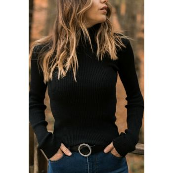 Women's Black Black Turtleneck Sweater 9YXK6-41552-02