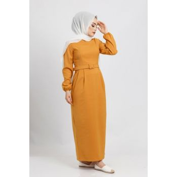 Women Mustard Waist Belt Dress 04218YBELB01050