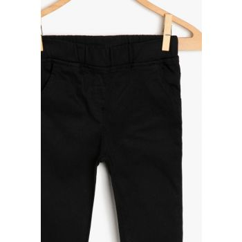 Black Girl's Trousers Detail Trousers 9YKG47838OW