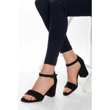 Black Suede Women Classic Heels Shoes FNN0330