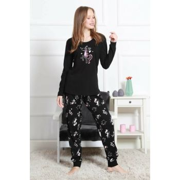 Women's Black Pajamas Suit 9031603067 TVIE19FWPTK057