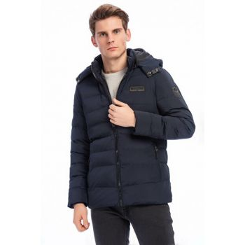 Men's Navy Blue Detachable Hooded Patch Detailed Coat 3535