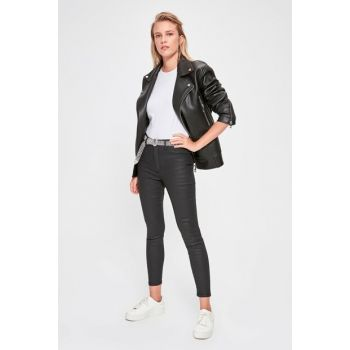 Black Ripped Normal Waist Skinny Jeans TWOAW20JE0258