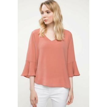 Women's Pink Flywheel Detail Blouse J2837AZ.18AU.PN471