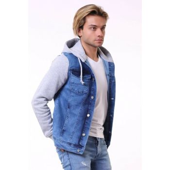 Light Blue Hooded Men's Denim Jacket ck2105