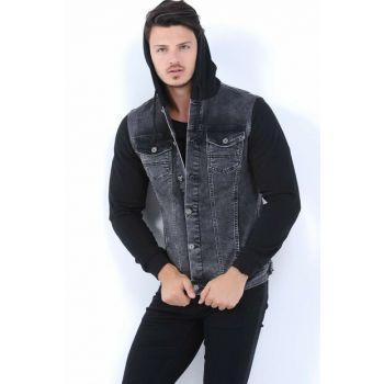 Hooded Men's Denim Jacket Black hak2010