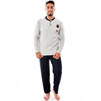 Men's Gray Long Sleeve Pajama Set with Ring 3779