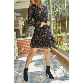 Women's Black Floral Pattern Chiffon Dress 9YXK6-41811-02