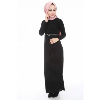 Women's Black Pleated Belt Sweater Dress 1583BGD19_001