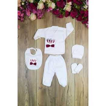 Bombino Crowned Male 5 Piece Layette Set Hospital Outlet mc2019016