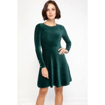 Women's Slim Fit Dress with Pearl Sleeves J9491AZ.18AU.GN465