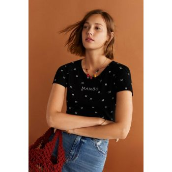Women's Black Logo Embroidered T-Shirt 53030652