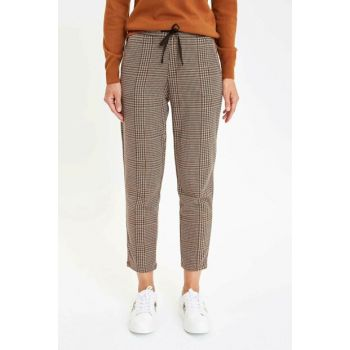 Women's Brown Plaid Waist Drawstring Regular Fit Pants M1584AZ.19AU.BN142
